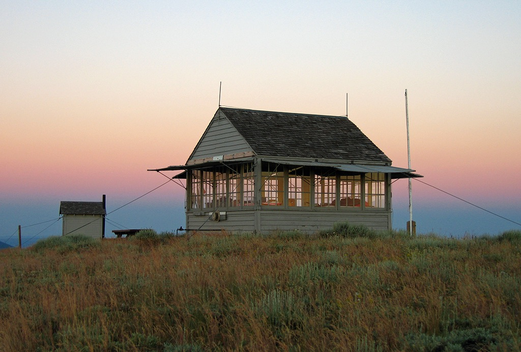 Bald Butte Lookout at sunset.