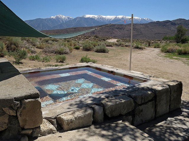 Soaking tub with a view at Benton Hot Springs.
