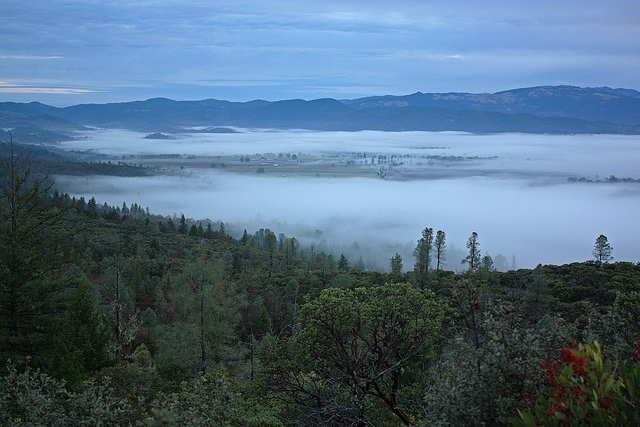 Round Valley filled with fog.